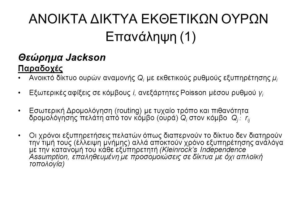 ΑΝΟΙΚΤΑ ΔΙΚΤΥΑ ΕΚΘΕΤΙΚΩΝ ΟΥΡΩΝ Επανάληψη (2) Θεώρημα Jackson Αποτέλεσμα Κατάσταση του δικτύου, διάνυσμα αριθμού πελατών στις ουρές Q i, n =(n 1, n 2, …) Εργοδική Πιθανότητα (αν υπάρχει): –P(n) = P(n 1 ) x P(n 2 ) x … μορφή γινομένου (product form) ανεξαρτήτων ουρών Μ/Μ/1 –P(n i ) = (1 – ρ i ) ρ i ni ρ i = λ i /μ i όπου λ i ο συνολικός ρυθμός Poisson των πελατών που διαπερνούν την ουρά Q i με ρυθμό εκθετικής εξυπηρέτησης μ i Ουρά (γραμμή) συμφόρησης: με το μέγιστο ρ i Μέσος αριθμός πελατών στο δίκτυο: E(n) = E(n 1 ) + E(n 2 ) + … Μέση καθυστέρηση τυχαίου πακέτου από άκρο σε άκρο: Ε(Τ) = Ε(n)/γ όπου γ = γ 1 + γ 2 +...