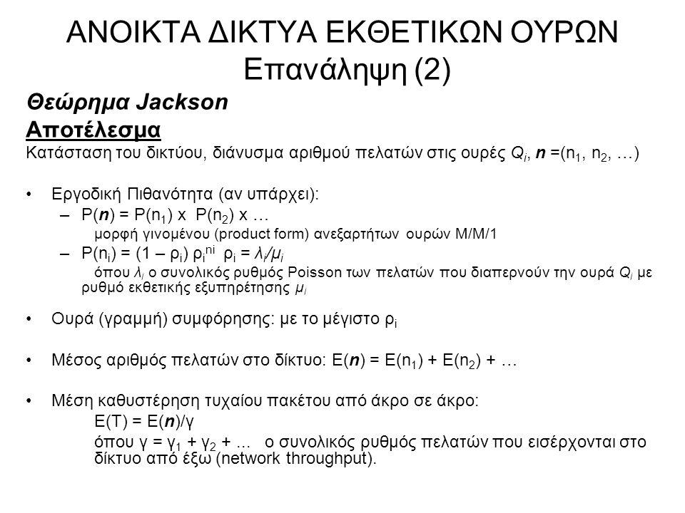 ΑΝΟΙΚΤΑ ΔΙΚΤΥΑ ΕΚΘΕΤΙΚΩΝ ΟΥΡΩΝ Επανάληψη (2) Θεώρημα Jackson Αποτέλεσμα Κατάσταση του δικτύου, διάνυσμα αριθμού πελατών στις ουρές Q i, n =(n 1, n 2,