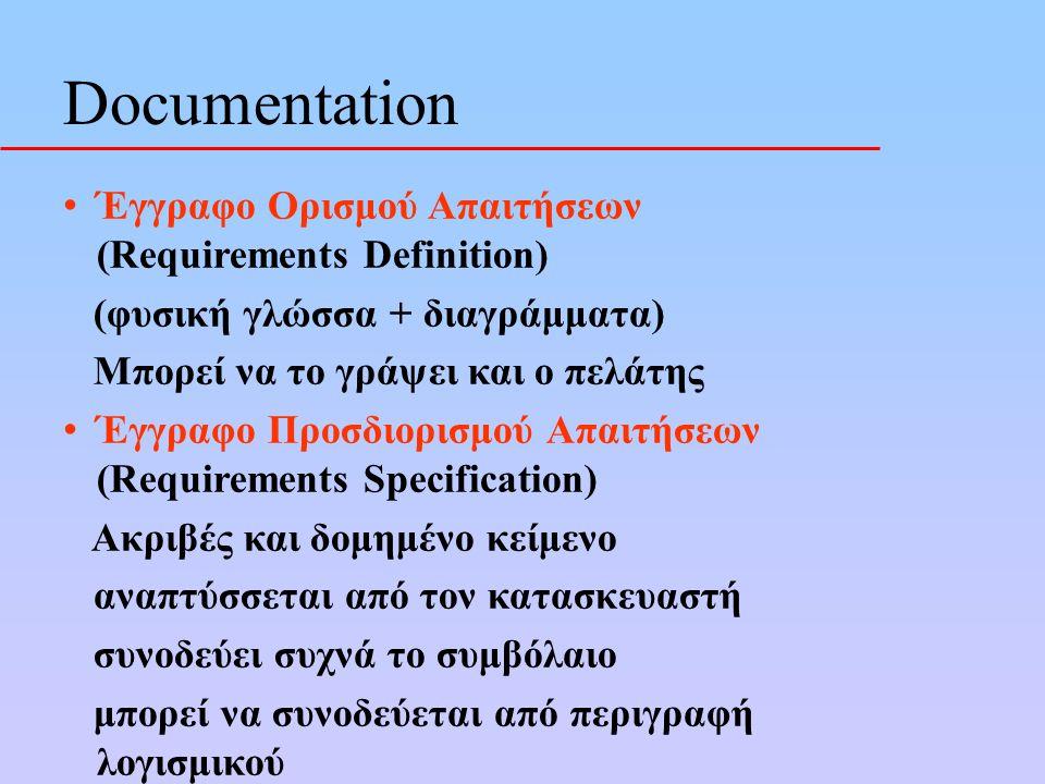 Έγγραφο Ορισμού Απαιτήσεων (Requirements Definition) (φυσική γλώσσα + διαγράμματα) Μπορεί να το γράψει και ο πελάτης Έγγραφο Προσδιορισμού Απαιτήσεων (Requirements Specification) Ακριβές και δομημένο κείμενο αναπτύσσεται από τον κατασκευαστή συνοδεύει συχνά το συμβόλαιο μπορεί να συνοδεύεται από περιγραφή λογισμικού Documentation