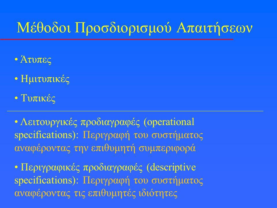 Μέθοδοι Προσδιορισμού Απαιτήσεων Άτυπες Ημιτυπικές Τυπικές Λειτουργικές προδιαγραφές (operational specifications): Περιγραφή του συστήματος αναφέροντας την επιθυμητή συμπεριφορά Περιγραφικές προδιαγραφές (descriptive specifications): Περιγραφή του συστήματος αναφέροντας τις επιθυμητές ιδιότητες