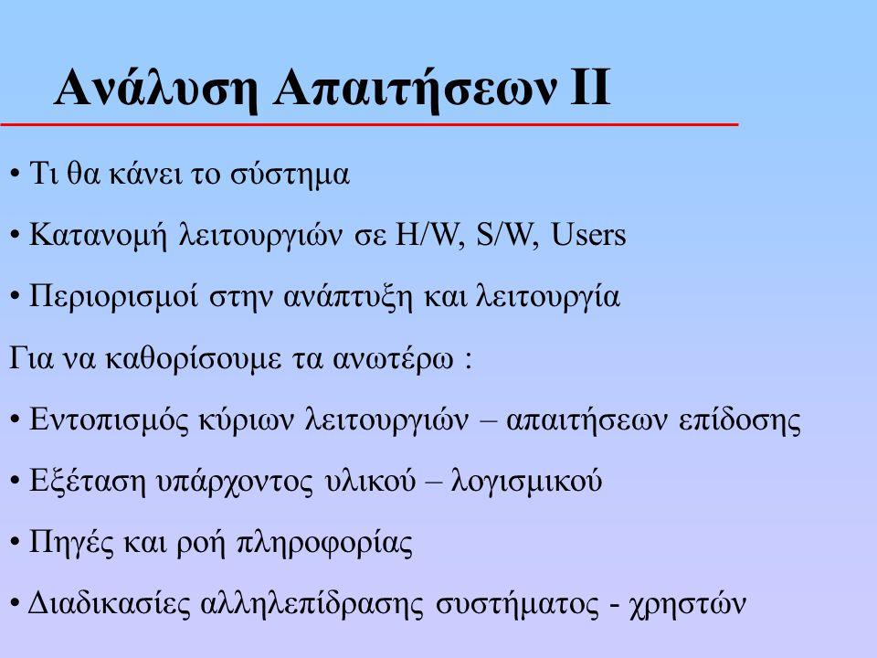 Ανάλυση Απαιτήσεων ΙΙ Τι θα κάνει το σύστημα Κατανομή λειτουργιών σε H/W, S/W, Users Περιορισμοί στην ανάπτυξη και λειτουργία Για να καθορίσουμε τα ανωτέρω : Εντοπισμός κύριων λειτουργιών – απαιτήσεων επίδοσης Εξέταση υπάρχοντος υλικού – λογισμικού Πηγές και ροή πληροφορίας Διαδικασίες αλληλεπίδρασης συστήματος - χρηστών