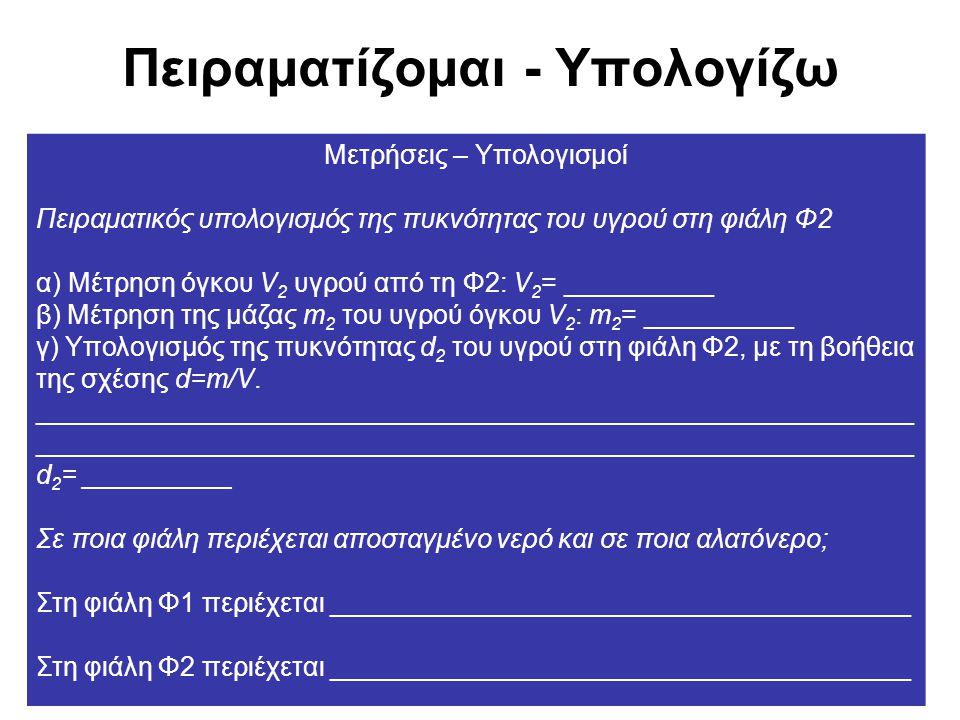 Πειραματίζομαι - Υπολογίζω Μετρήσεις – Υπολογισμοί Πειραματικός υπολογισμός της πυκνότητας του υγρού στη φιάλη Φ2 α) Μέτρηση όγκου V 2 υγρού από τη Φ2: V 2 = __________ β) Μέτρηση της μάζας m 2 του υγρού όγκου V 2 : m 2 = __________ γ) Υπολογισμός της πυκνότητας d 2 του υγρού στη φιάλη Φ2, με τη βοήθεια της σχέσης d=m/V.