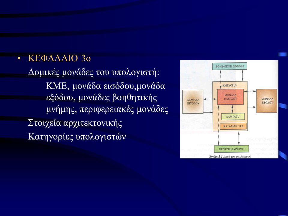 ΚΕΦΑΛΑΙΟ 3ο Δομικές μονάδες του υπολογιστή: ΚΜΕ, μονάδα εισόδου,μονάδα εξόδου, μονάδες βοηθητικής μνήμης, περιφερειακές μονάδες Στοιχεία αρχιτεκτονικής Κατηγορίες υπολογιστών