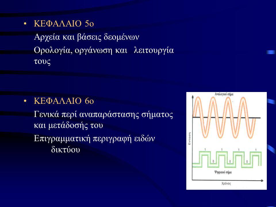 ΚΕΦΑΛΑΙΟ 5ο Αρχεία και βάσεις δεομένων Ορολογία, οργάνωση και λειτουργία τους ΚΕΦΑΛΑΙΟ 6ο Γενικά περί αναπαράστασης σήματος και μετάδοσής του Επιγραμματική περιγραφή ειδών δικτύου