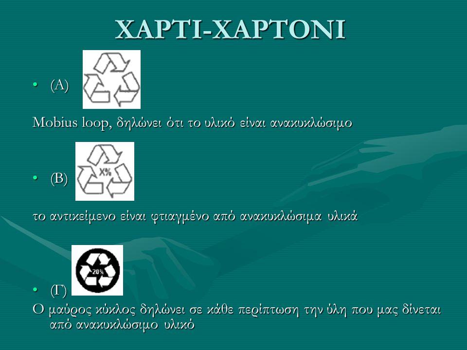 ΧΑΡΤΙ-ΧΑΡΤΟΝΙ (Α)(Α) Mobius loop, δηλώνει ότι το υλικό είναι ανακυκλώσιμο (Β)(Β) το αντικείμενο είναι φτιαγμένο από ανακυκλώσιμα υλικά (Γ)(Γ) Ο μαύρος