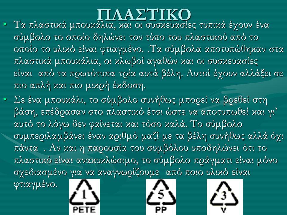 ΠΛΑΣΤΙΚΟ Τα πλαστικά μπουκάλια, και οι συσκευασίες τυπικά έχουν ένα σύμβολο το οποίο δηλώνει τον τύπο του πλαστικού από το οποίο το υλικό είναι φτιαγμ