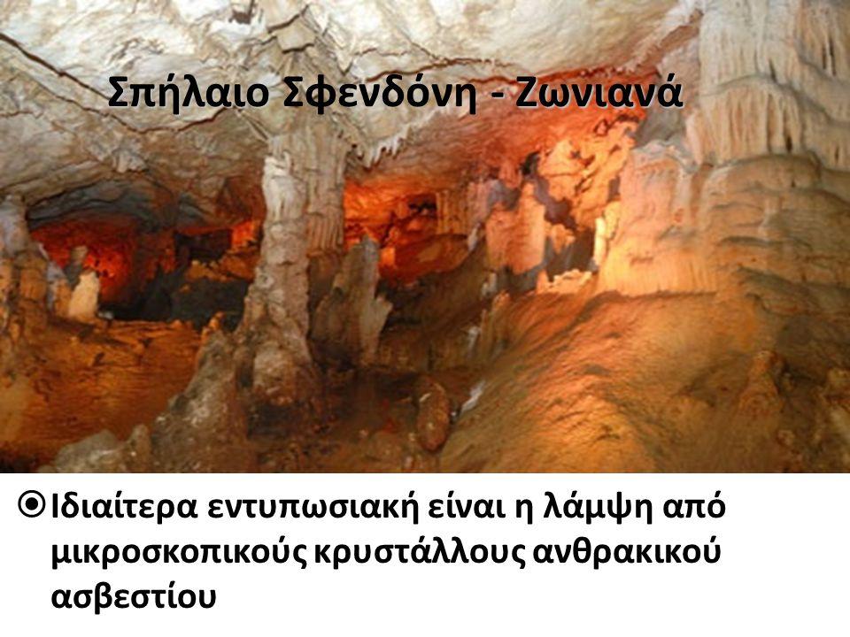  Ιδιαίτερα εντυπωσιακή είναι η λάμψη από μικροσκοπικούς κρυστάλλους ανθρακικού ασβεστίου Σπήλαιο - Ζωνιανά Σπήλαιο Σφενδόνη - Ζωνιανά