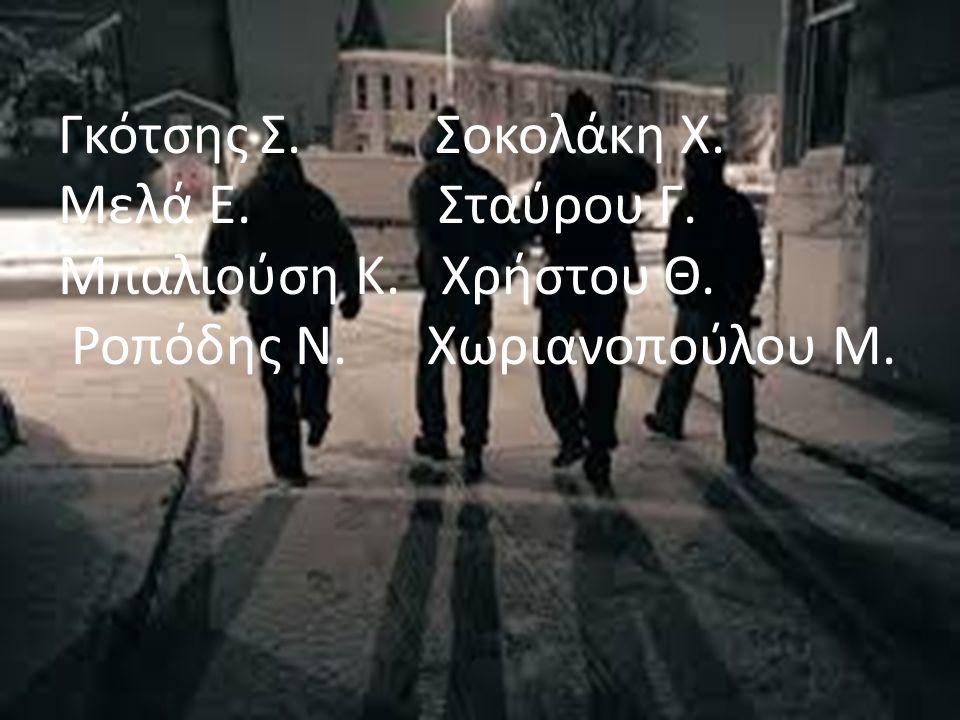 Γκότσης Σ. Σοκολάκη Χ. Μελά Ε. Σταύρου Γ. Μπαλιούση Κ. Χρήστου Θ. Ροπόδης Ν. Χωριανοπούλου Μ.