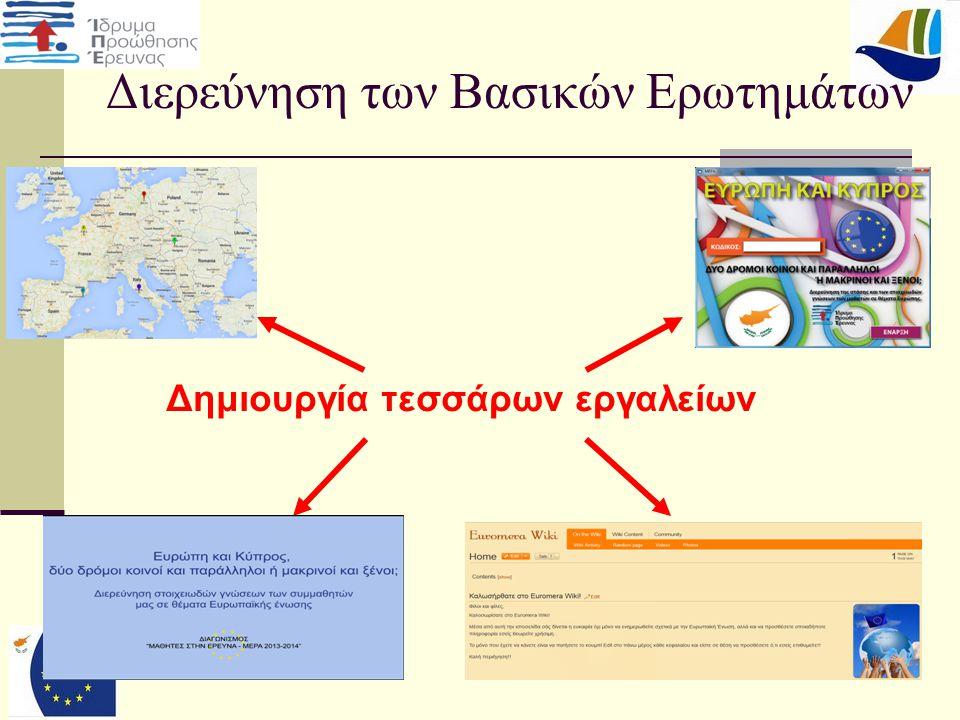 29 Διάχυση της Παρεχόμενης Γνώσης  Μαθητές (Μέσα από το παιχνίδι, Ανάρτηση Αποτελεσμάτων στην Πινακίδα Ανακοινώσεων του σχολείου)  Καθηγητές (Παρουσίαση των αποτελεσμάτων)  Έμπειρη Ερευνήτρια  Ανάρτηση αποτελεσμάτων στην επίσημη ιστοσελίδα του σχολείου  Παρουσίαση της Έρευνας σε αντιπροσωπεία της Ευρωπαϊκής Επιτροπής