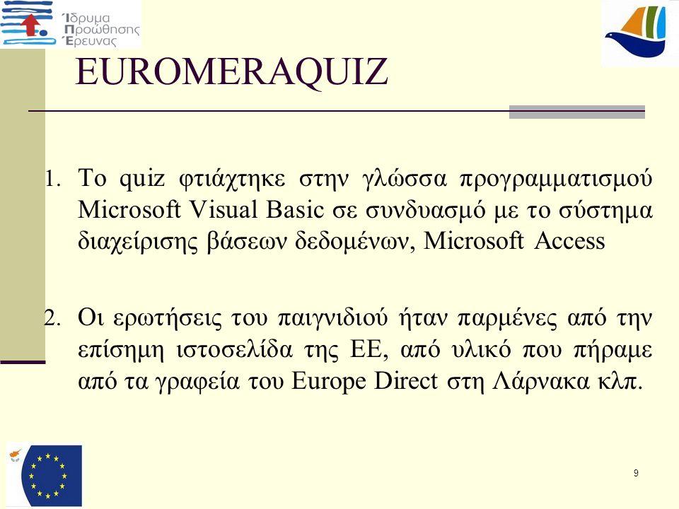 EUROMERAQUIZ 4.Διερεύνηση και των τριών βασικών ερωτημάτων.
