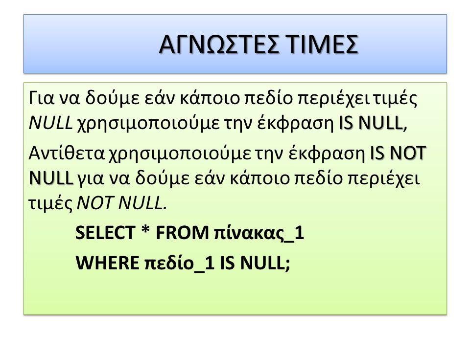 ΑΓΝΩΣΤΕΣ ΤΙΜΕΣ IS NULL Για να δούμε εάν κάποιο πεδίο περιέχει τιμές NULL χρησιμοποιούμε την έκφραση IS NULL, IS NOT NULL Αντίθετα χρησιμοποιούμε την έκφραση IS NOT NULL για να δούμε εάν κάποιο πεδίο περιέχει τιμές NOT NULL.