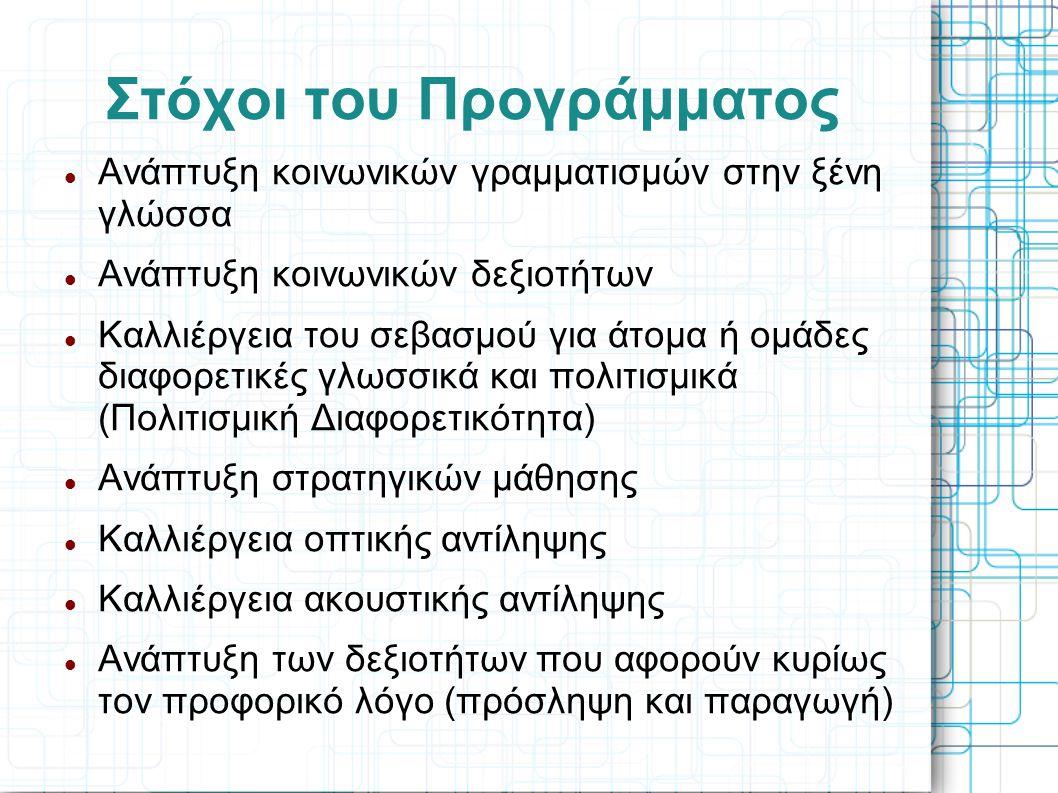 Στόχοι του Προγράμματος Ανάπτυξη κοινωνικών γραμματισμών στην ξένη γλώσσα Ανάπτυξη κοινωνικών δεξιοτήτων Καλλιέργεια του σεβασμού για άτομα ή ομάδες διαφορετικές γλωσσικά και πολιτισμικά (Πολιτισμική Διαφορετικότητα) Ανάπτυξη στρατηγικών μάθησης Καλλιέργεια οπτικής αντίληψης Καλλιέργεια ακουστικής αντίληψης Ανάπτυξη των δεξιοτήτων που αφορούν κυρίως τον προφορικό λόγο (πρόσληψη και παραγωγή)