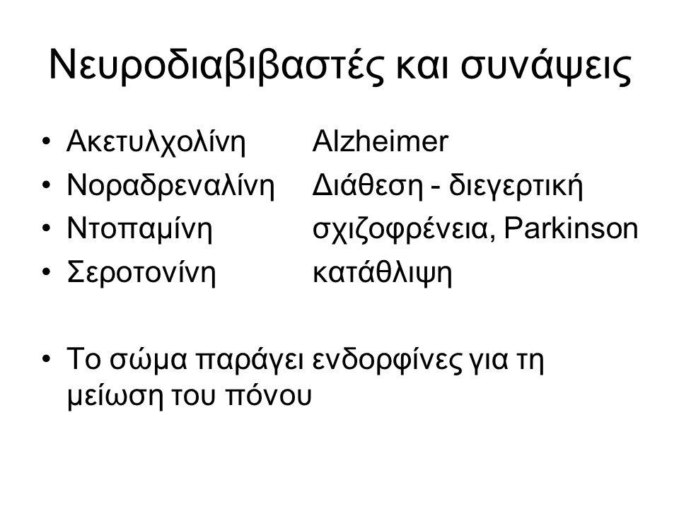 Νευροδιαβιβαστές και συνάψεις ΑκετυλχολίνηAlzheimer ΝοραδρεναλίνηΔιάθεση - διεγερτική Ντοπαμίνησχιζοφρένεια, Parkinson Σεροτονίνηκατάθλιψη Το σώμα παράγει ενδορφίνες για τη μείωση του πόνου