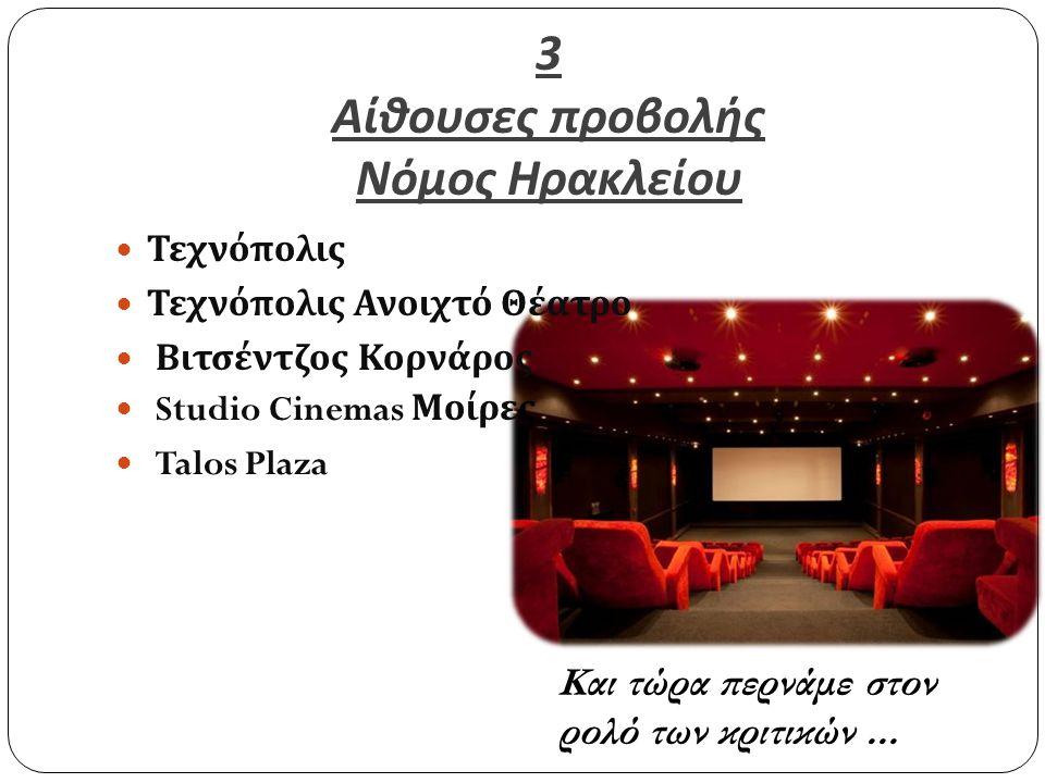 3 Αίθουσες προβολής Νόμος Ηρακλείου Τεχνόπολις Τεχνόπολις Ανοιχτό Θέατρο Βιτσέντζος Κορνάρος Studio Cinemas Μοίρες Talos Plaza Και τώρα περνάμε στον ρ