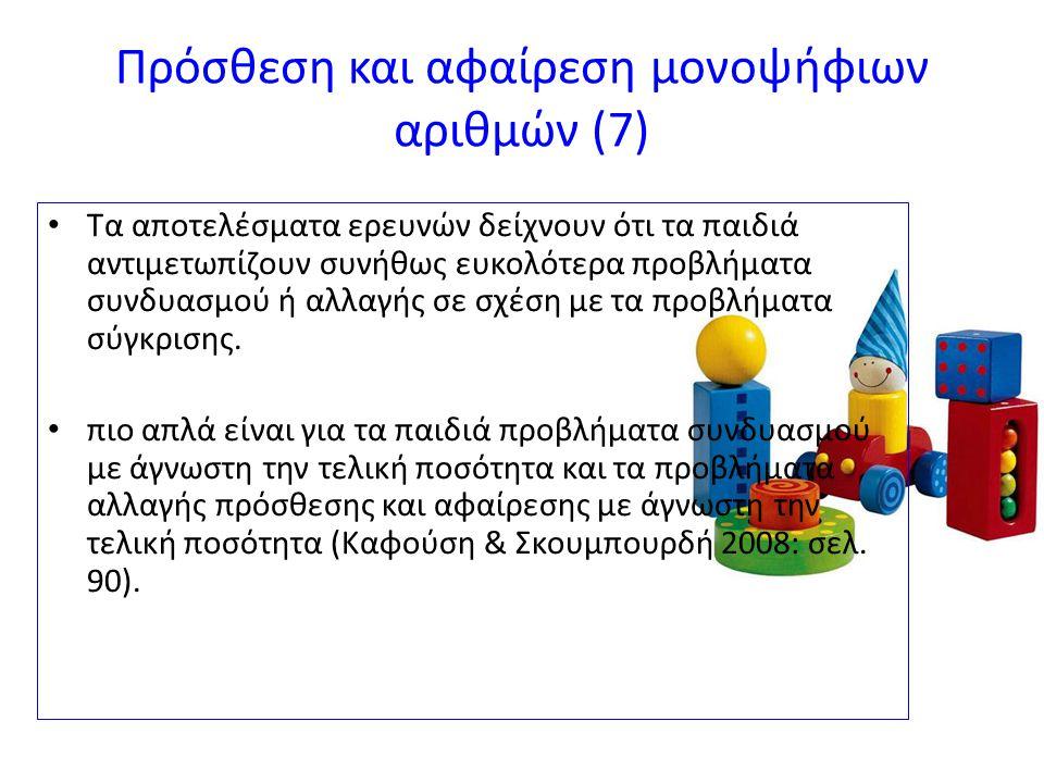 Πρόσθεση και αφαίρεση μονοψήφιων αριθμών (7) Τα αποτελέσματα ερευνών δείχνουν ότι τα παιδιά αντιμετωπίζουν συνήθως ευκολότερα προβλήματα συνδυασμού ή