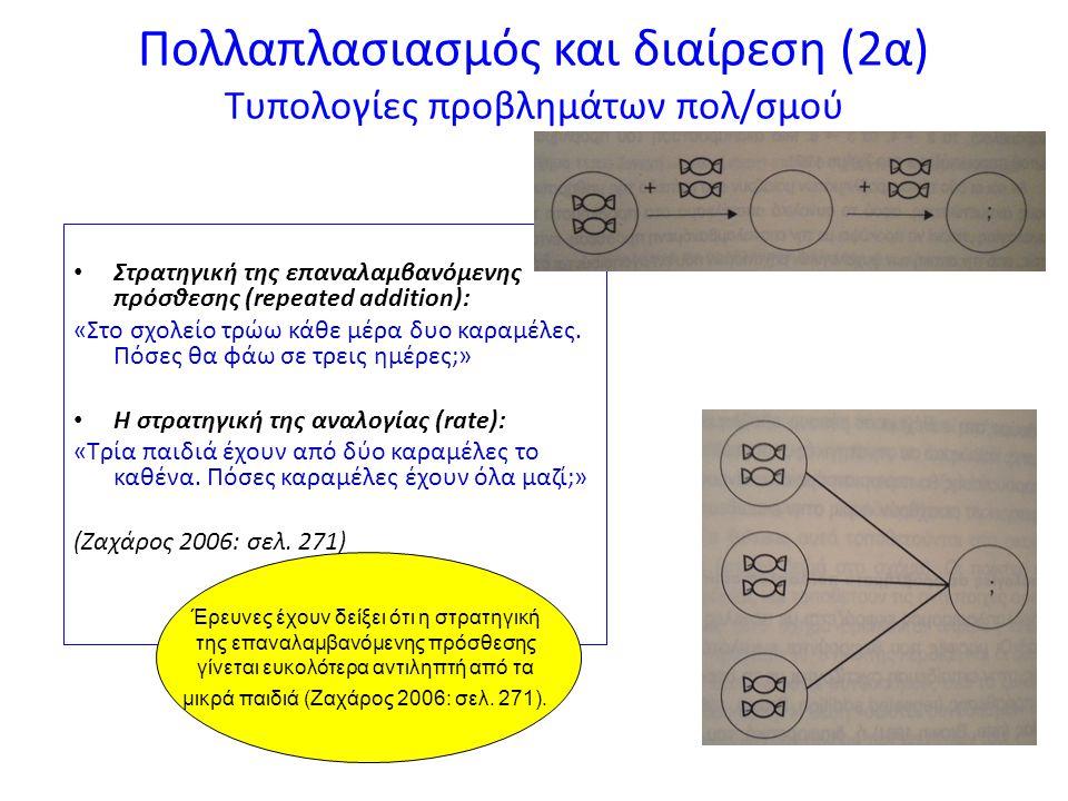 Πολλαπλασιασμός και διαίρεση (2β) Τυπολογίες προβλημάτων διαίρεσης o Στρατηγική της επαναλαμβανόμενης αφαίρεσης (repeated subtraction) ή ομαδοποίησης (grouping): «Αν έχεις 6 καραμέλες, σε πόσα παιδιά μπορείς να δώσεις από 2 καραμέλες;» o «Στρατηγική της διανομής (sharing): «Αν 6 καραμέλες μοιραστούν σε 2 παιδιά, πόσες καραμέλες θα πάρει το κάθε παιδί;» (Ζαχάρος 2006: σελ.