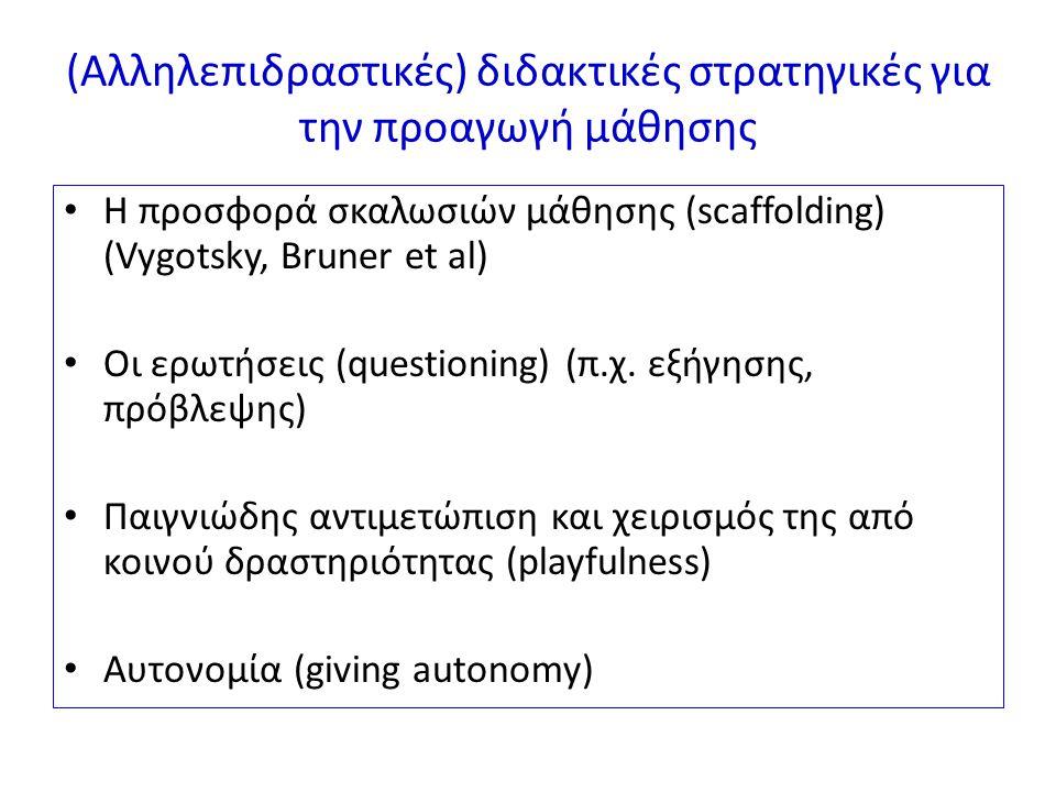 (Αλληλεπιδραστικές) διδακτικές στρατηγικές για την προαγωγή μάθησης Η προσφορά σκαλωσιών μάθησης (scaffolding) (Vygotsky, Bruner et al) Οι ερωτήσεις (