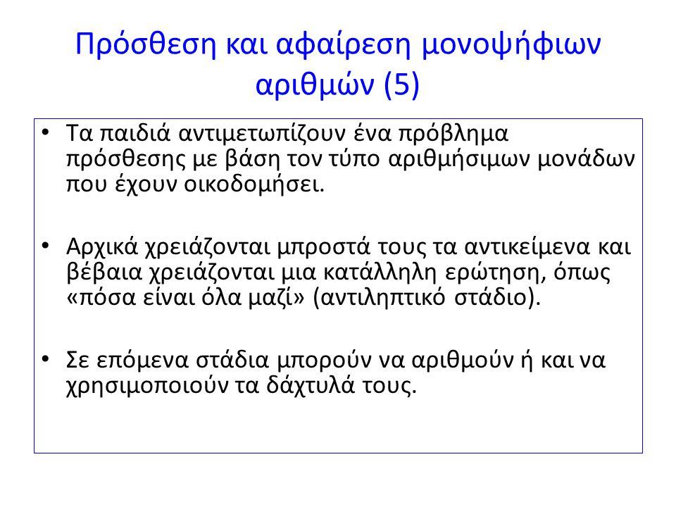 Πρόσθεση και αφαίρεση μονοψήφιων αριθμών (6α) Οι Greno et al.