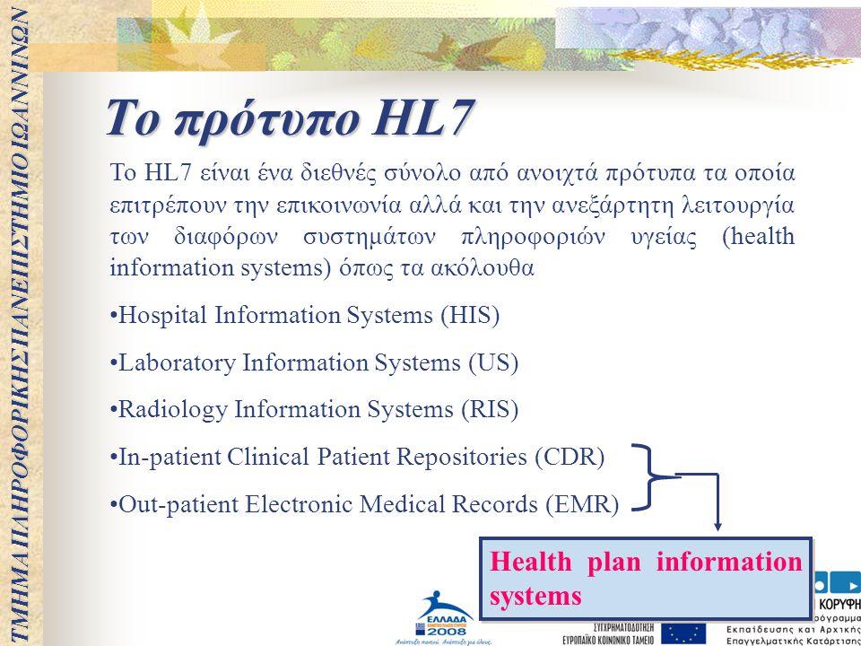 Το πρότυπο HL7 Το HL7 είναι ένα διεθνές σύνολο από ανοιχτά πρότυπα τα οποία επιτρέπουν την επικοινωνία αλλά και την ανεξάρτητη λειτουργία των διαφόρων
