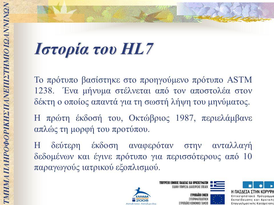 ΤΜΗΜΑ ΠΛΗΡΟΦΟΡΙΚΗΣ ΠΑΝΕΠΙΣΤΗΜΙΟ ΙΩΑΝΝΙΝΩΝ Ιστορία του HL7 Το πρότυπο βασίστηκε στο προηγούμενο πρότυπο ASTM 1238. Ένα μήνυμα στέλνεται από τον αποστολ