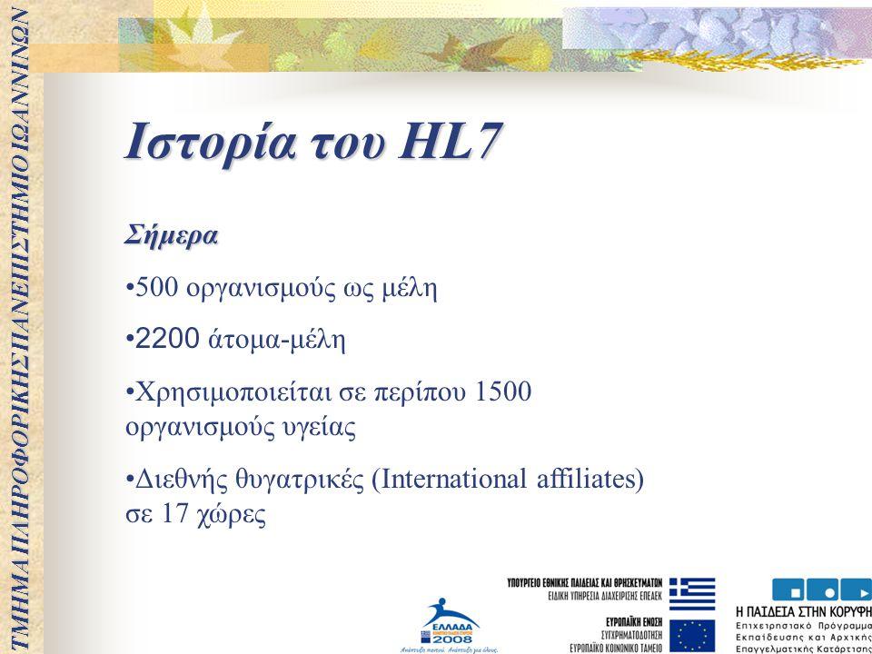 ΤΜΗΜΑ ΠΛΗΡΟΦΟΡΙΚΗΣ ΠΑΝΕΠΙΣΤΗΜΙΟ ΙΩΑΝΝΙΝΩΝ Ιστορία του HL7 Σήμερα 500 οργανισμούς ως μέλη 2200 άτομα-μέλη Χρησιμοποιείται σε περίπου 1500 οργανισμούς υ