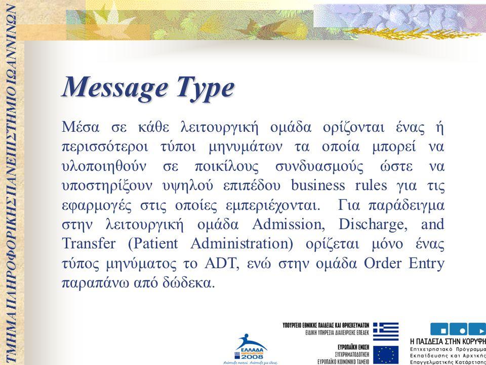 ΤΜΗΜΑ ΠΛΗΡΟΦΟΡΙΚΗΣ ΠΑΝΕΠΙΣΤΗΜΙΟ ΙΩΑΝΝΙΝΩΝ Message Type Μέσα σε κάθε λειτουργική ομάδα ορίζονται ένας ή περισσότεροι τύποι μηνυμάτων τα οποία μπορεί να