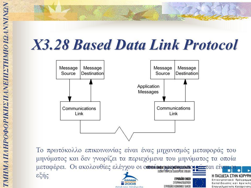 X3.28 Based Data Link Protocol Το πρωτόκολλο επικοινωνίας είναι ένας μηχανισμός μεταφοράς του μηνύματος και δεν γνωρίζει τα περιεχόμενα του μηνύματος