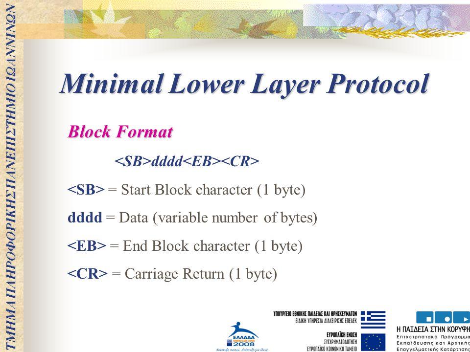 Minimal Lower Layer Protocol Block Format dddd = Start Block character (1 byte) dddd = Data (variable number of bytes) = End Block character (1 byte)