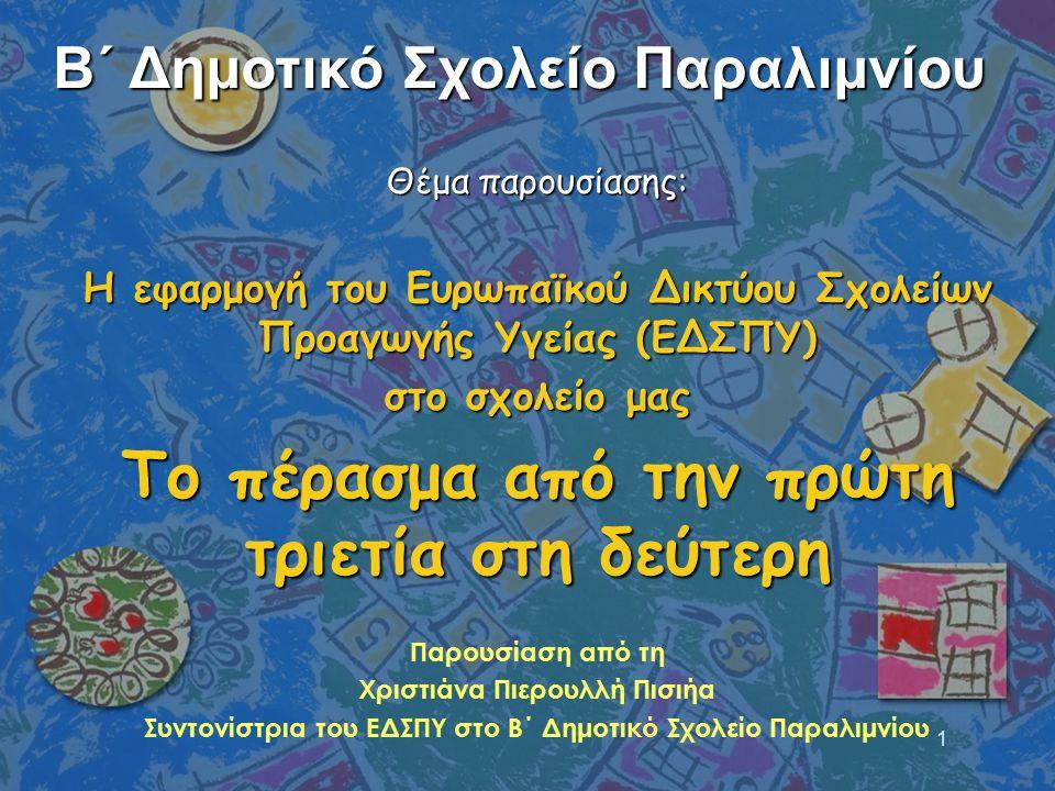 1 Θέμα παρουσίασης: H εφαρμογή του Ευρωπαϊκού Δικτύου Σχολείων Προαγωγής Υγείας (ΕΔΣΠΥ) στο σχολείο μας Το πέρασμα από την πρώτη τριετία στη δεύτερη Π