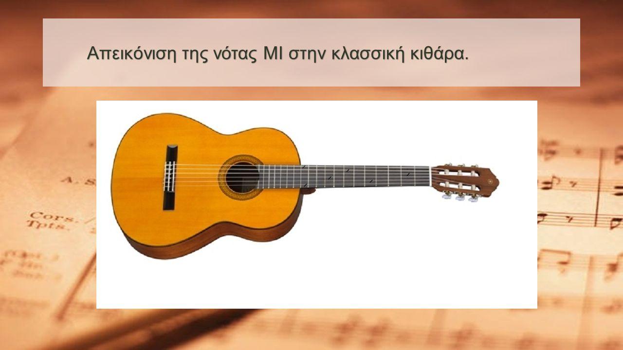 Απεικόνιση της νότας ΜΙ στην κλασσική κιθάρα. Απεικόνιση της νότας ΜΙ στην κλασσική κιθάρα.