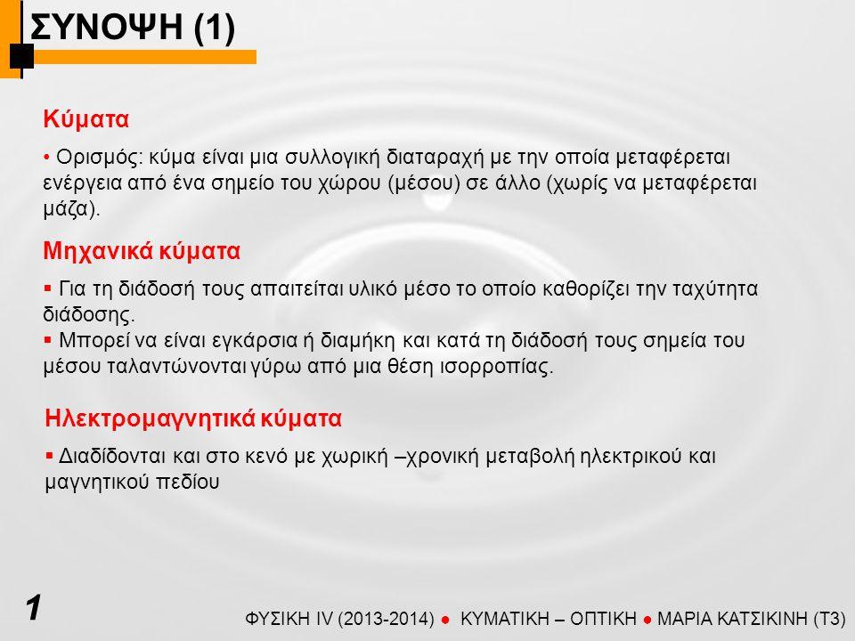 ΣΥΝΟΨΗ (1) ΦΥΣΙΚΗ IV (2013-2014) ● KYMATIKH – OΠTIKH ● ΜΑΡΙΑ ΚΑΤΣΙΚΙΝΗ (T3) Κύματα Ορισμός: κύμα είναι μια συλλογική διαταραχή με την οποία μεταφέρεται ενέργεια από ένα σημείο του χώρου (μέσου) σε άλλο (χωρίς να μεταφέρεται μάζα).