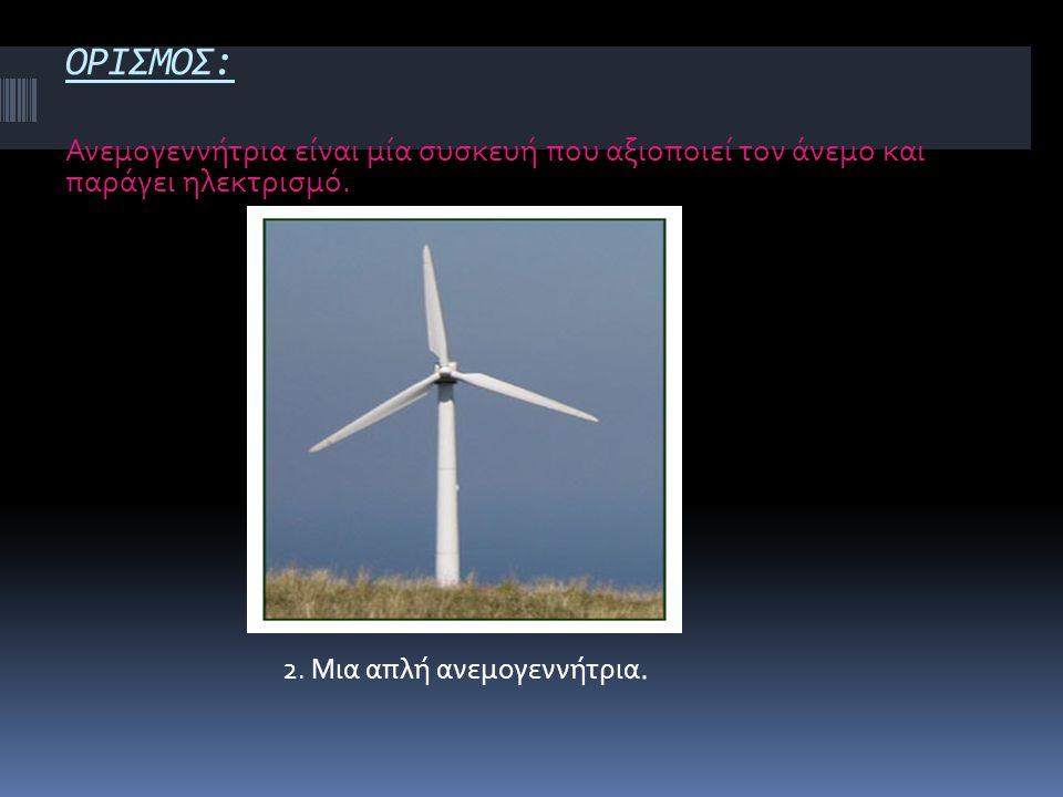 ΟΡΙΣΜΟΣ: Ανεμογεννήτρια είναι μία συσκευή που αξιοποιεί τον άνεμο και παράγει ηλεκτρισμό. 2. Μια απλή ανεμογεννήτρια.