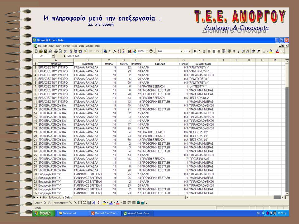 Διοίκηση & Οικονομία Η πληροφορία μετά την επεξεργασία. Σε xls μορφή