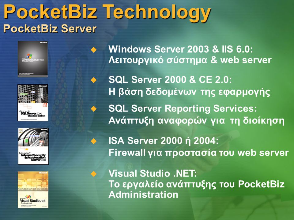 PocketBiz Technology PocketBiz Server  Windows Server 2003 & IIS 6.0: Λειτουργικό σύστημα & web server  SQL Server 2000 & CE 2.0: Η βάση δεδομένων τ