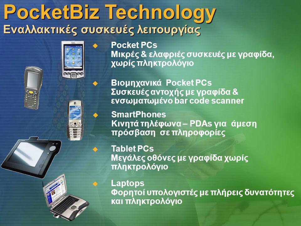 PocketBiz Technology Εναλλακτικές συσκευές λειτουργίας  Pocket PCs Μικρές & ελαφριές συσκευές με γραφίδα, χωρίς πληκτρολόγιο  Βιομηχανικά Pocket PCs