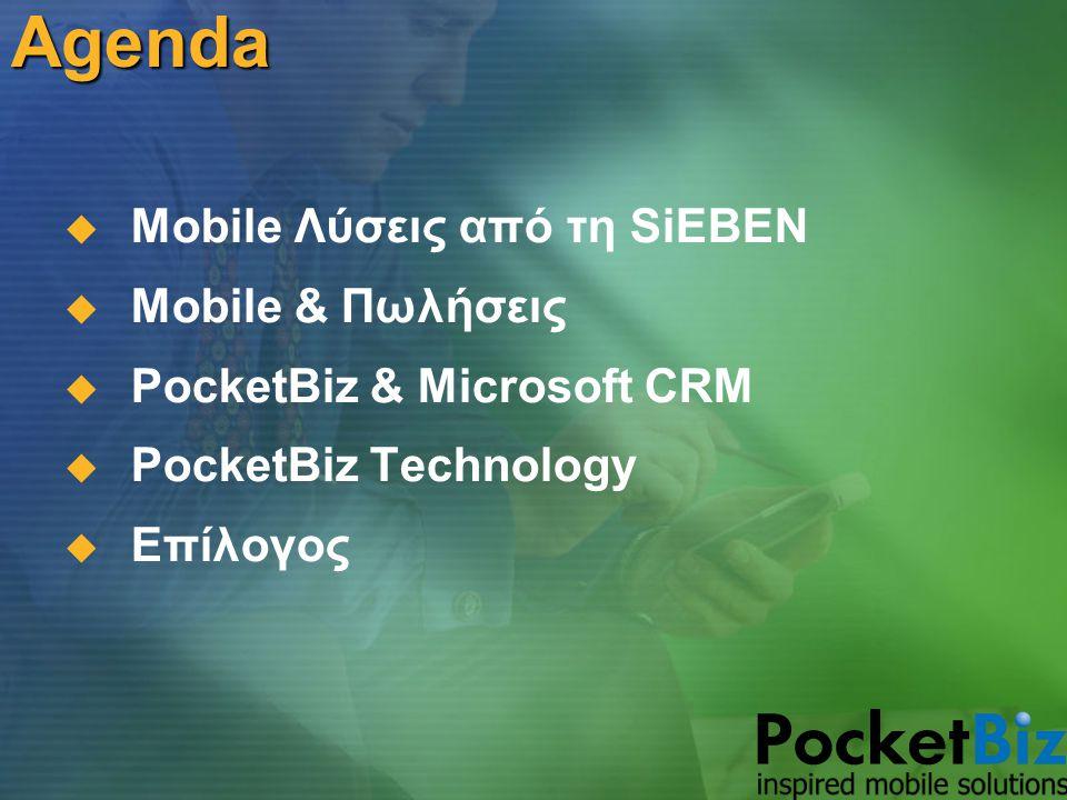 PocketBiz Technology PocketBiz Server  Windows Server 2003 & IIS 6.0: Λειτουργικό σύστημα & web server  SQL Server 2000 & CE 2.0: Η βάση δεδομένων της εφαρμογής  Visual Studio.ΝΕΤ: Το εργαλείο ανάπτυξης του PocketBiz Administration  ISA Server 2000 ή 2004: Firewall για προστασία του web server  SQL Server Reporting Services: Ανάπτυξη αναφορών για τη διοίκηση