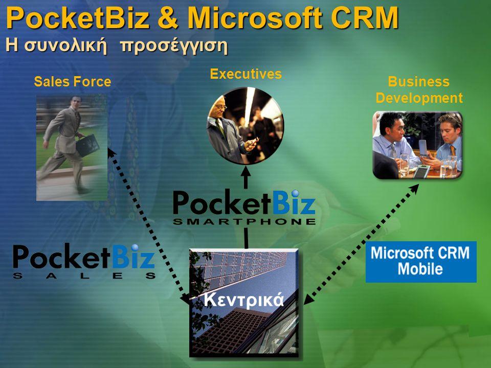PocketBiz & Microsoft CRM Η συνολική προσέγγιση Κεντρικά Sales ForceBusiness Development Executives