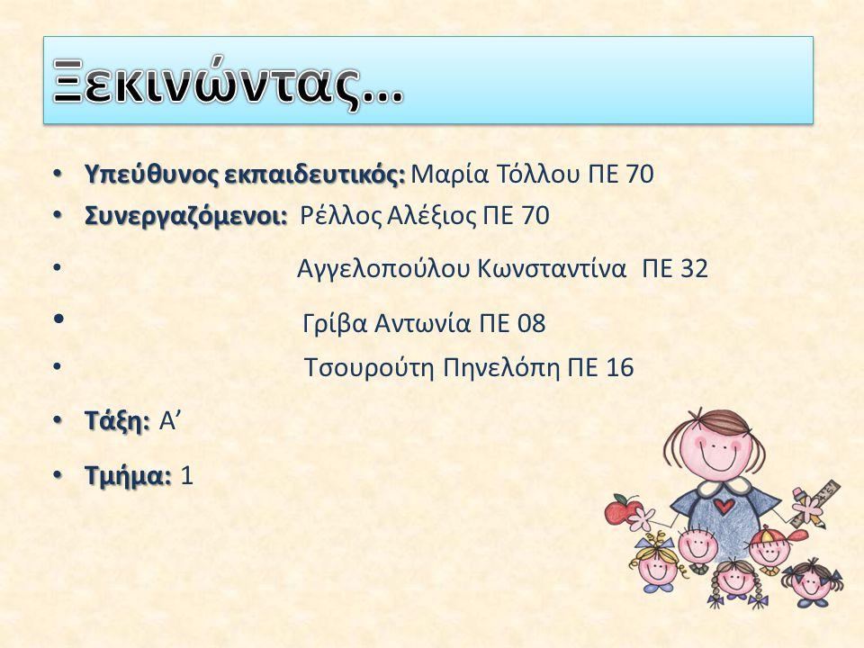 Υπεύθυνος εκπαιδευτικός: Υπεύθυνος εκπαιδευτικός: Μαρία Τόλλου ΠΕ 70 Συνεργαζόμενοι: Συνεργαζόμενοι: Ρέλλος Αλέξιος ΠΕ 70 Αγγελοπούλου Κωνσταντίνα ΠΕ