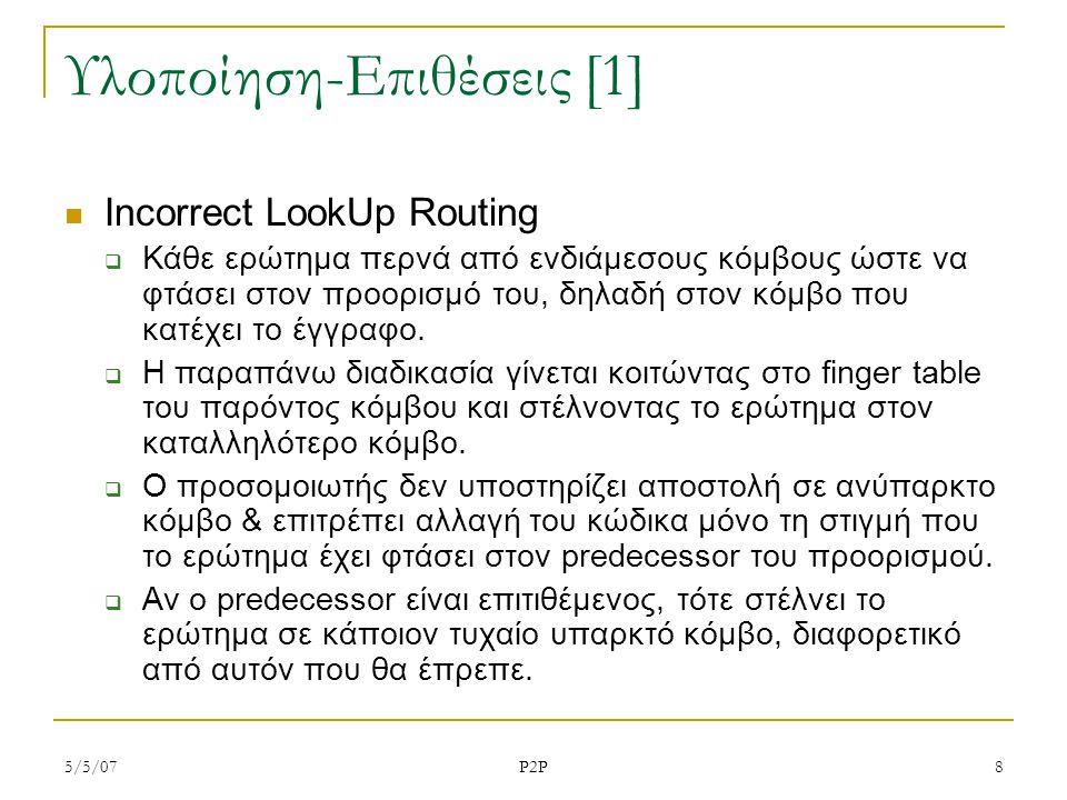 5/5/07 P2P 8 Υλοποίηση-Επιθέσεις [1] Incorrect LookUp Routing  Κάθε ερώτημα περνά από ενδιάμεσους κόμβους ώστε να φτάσει στον προορισμό του, δηλαδή στον κόμβο που κατέχει το έγγραφο.
