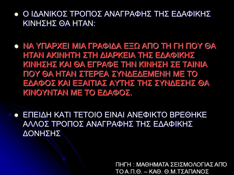 Ο ΙΔΑΝΙΚΟΣ ΤΡΟΠΟΣ ΑΝΑΓΡΑΦΗΣ ΤΗΣ ΕΔΑΦΙΚΗΣ ΚΙΝΗΣΗΣ ΘΑ ΗΤΑΝ: Ο ΙΔΑΝΙΚΟΣ ΤΡΟΠΟΣ ΑΝΑΓΡΑΦΗΣ ΤΗΣ ΕΔΑΦΙΚΗΣ ΚΙΝΗΣΗΣ ΘΑ ΗΤΑΝ: ΝΑ ΥΠΑΡΧΕΙ ΜΙΑ ΓΡΑΦΙΔΑ ΕΞΩ ΑΠΟ ΤΗ