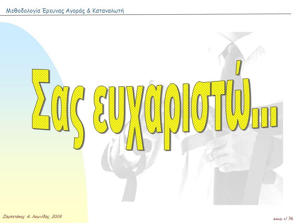 Μεθοδολογία Έρευνας Αγοράς & Καταναλωτή Ζαμπετάκης Α. Λεωνίδας, 2009 Διάλεξη 1 / 36