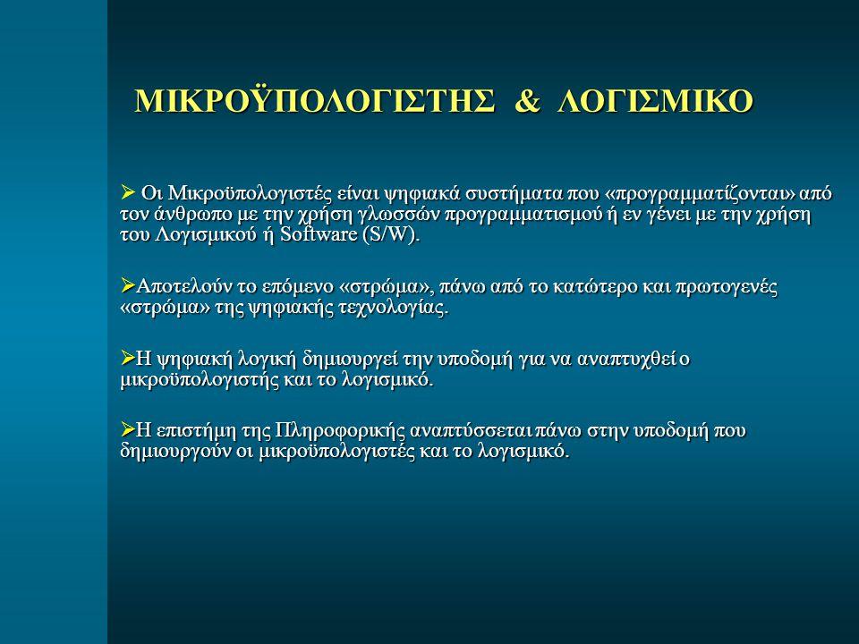 ΜΙΚΡΟΫΠΟΛΟΓΙΣΤΗΣ & ΛΟΓΙΣΜΙΚΟ Οι Μικροϋπολογιστές είναι ψηφιακά συστήματα που «προγραμματίζονται» από τον άνθρωπο με την χρήση γλωσσών προγραμματισμού ή εν γένει με την χρήση του Λογισμικού ή Software (S/W).
