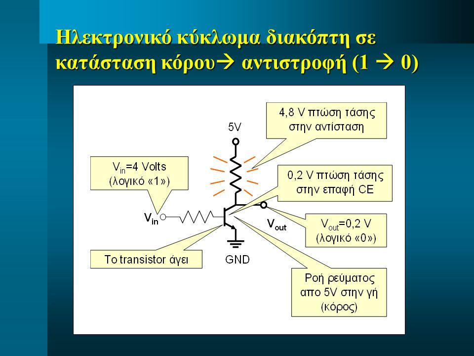 Ηλεκτρονικό κύκλωμα διακόπτη σε κατάσταση κόρου  αντιστροφή (1  0)