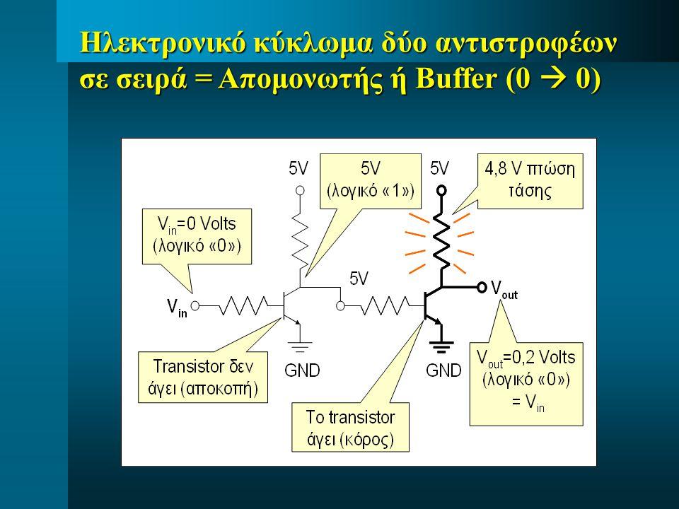 Ηλεκτρονικό κύκλωμα δύο αντιστροφέων σε σειρά = Απομονωτής ή Buffer (0  0)