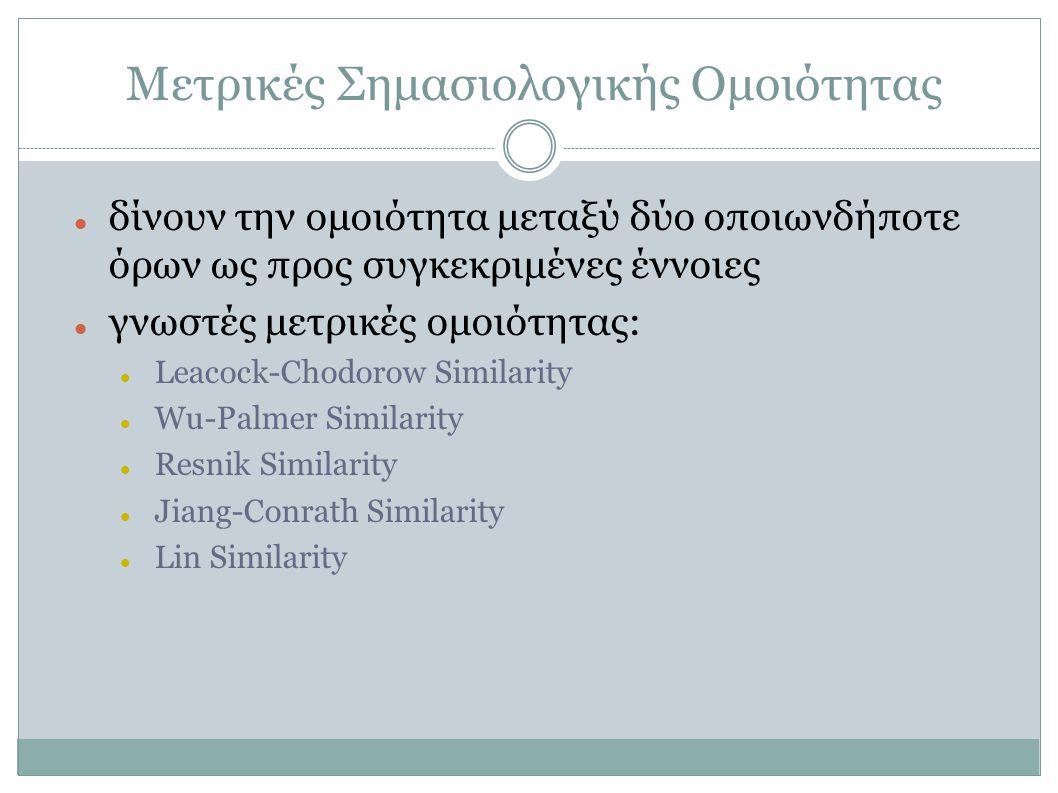 Μετρικές Σημασιολογικής Ομοιότητας δίνουν την ομοιότητα μεταξύ δύο οποιωνδήποτε όρων ως προς συγκεκριμένες έννοιες γνωστές μετρικές ομοιότητας: Leacoc