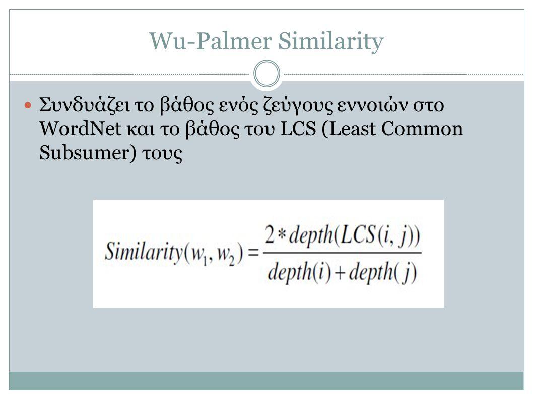 Wu-Palmer Similarity Συνδυάζει το βάθος ενός ζεύγους εννοιών στο WordNet και το βάθος του LCS (Least Common Subsumer) τους