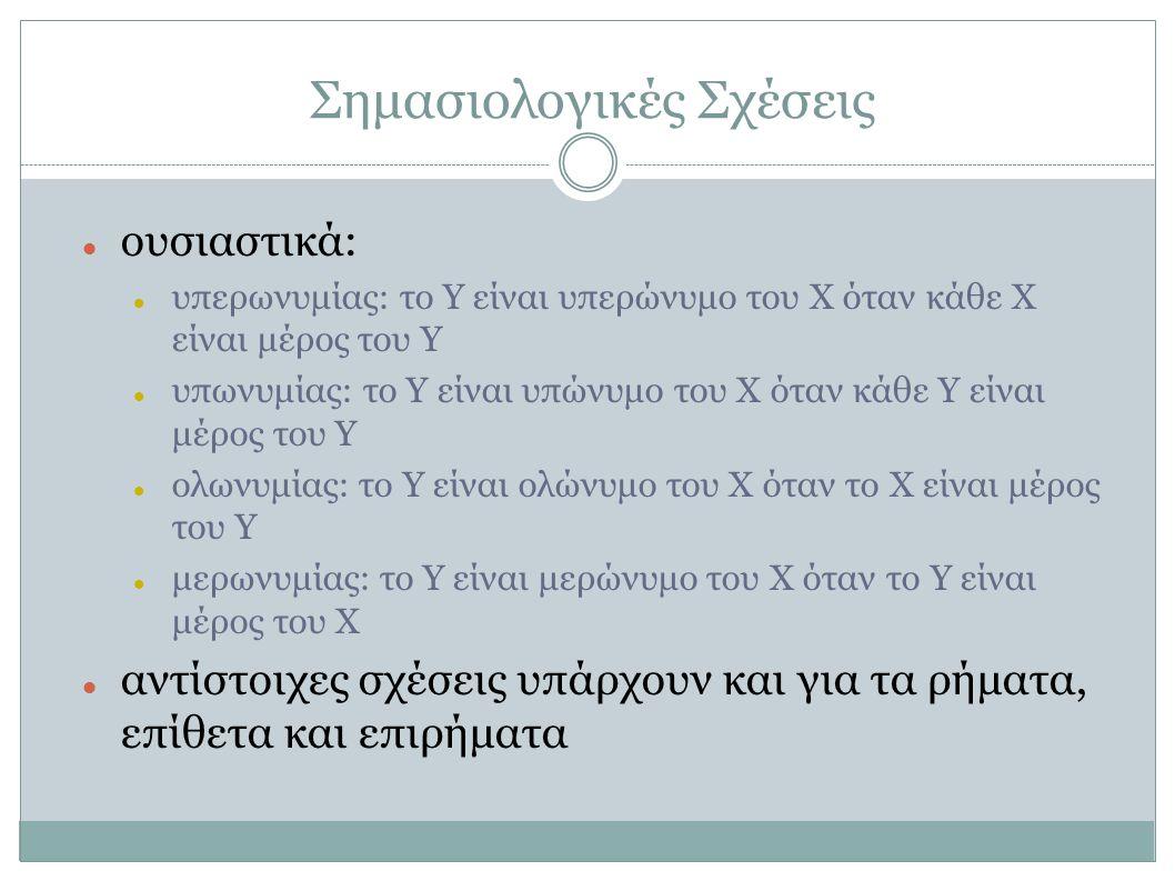 Σημασιολογικές Σχέσεις ουσιαστικά: υπερωνυμίας: το Y είναι υπερώνυμο του X όταν κάθε X είναι μέρος του Y υπωνυμίας: το Y είναι υπώνυμο του X όταν κάθε