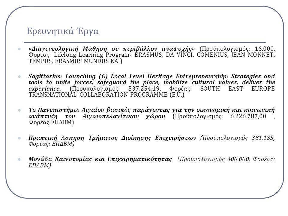Ερευνητικά Έργα Πολυνησιωτικότητα Υποέργο 1:Δράση 4: Εκπαίδευση και Υποστήριξη προς τις τοπικές κοινωνίες (Προϋπολογισμός: 890.950,00, Φορέας:ΕΠΔΒΜ) Δράση 6.2: Μεταφορικό Σύστημα και Τουριστική Ανάπτυξη στα νησιά Αιγαίου(Προϋπολογισμός:, Φορέας:ΕΠΔΒΜ) Καταγραφή και αξιολόγηση της τουριστικής δραστηριότητας, των αποτελεσμάτων και των επιπτώσεων της για βελτιστοποίηση του σχεδιασμού» της Δράσης 6.3 «Ανάπτυξη ολοκληρωμένου προγράμματος έρευνας με αντικείμενο τη νησιωτικότητα».