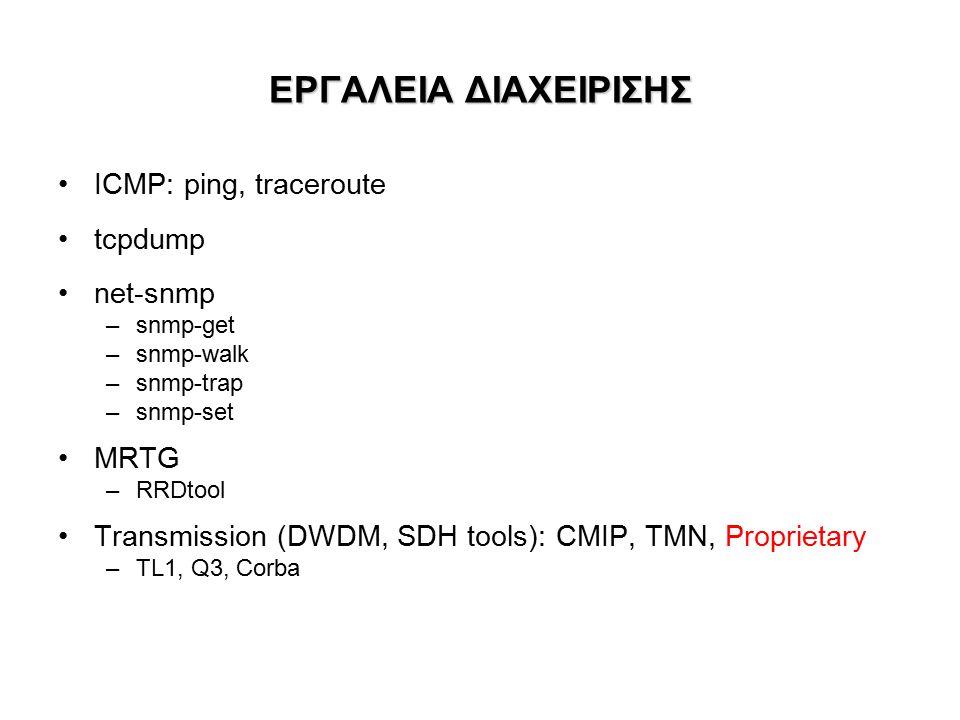 ΕΡΓΑΛΕΙΑ ΔΙΑΧΕΙΡΙΣΗΣ ICMP: ping, traceroute tcpdump net-snmp –snmp-get –snmp-walk –snmp-trap –snmp-set MRTG –RRDtool Transmission (DWDM, SDH tools): CMIP, TMN, Proprietary –TL1, Q3, Corba