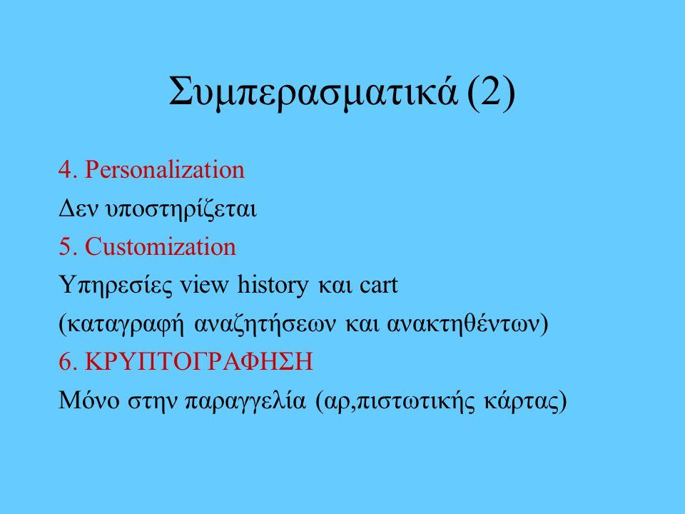 Συμπερασματικά (2) 4. Personalization Δεν υποστηρίζεται 5. Customization Υπηρεσίες view history και cart (καταγραφή αναζητήσεων και ανακτηθέντων) 6. Κ